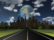 World of Future. Night roadway to future city. Terraformed moon in the sky. Some elements image credit NASA Stock Photos