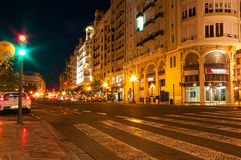 Night roadway in Valencia, Spain Royalty Free Stock Photo