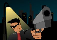 Night robbery. Young man with gun standing under street lantern. Vector illustration Stock Photography