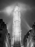 Night at the Rockefeller Center. NEW YORK - JANUARY 3, 2015: Rockefeller Center is a complex of different commercial buildings located in Midtown Manhattan Stock Image