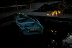 Night romantic boat with candels Royalty Free Stock Photo