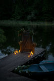 Night romantic boat with candels Royalty Free Stock Images