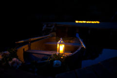 Night romantic boat with candels Stock Photos