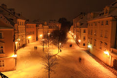 Night romantic snowy Prague Island Kampa, Czech republic Stock Photos