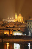 Night romantic snowy Prague St. Nicholas' Cathedral Royalty Free Stock Photography