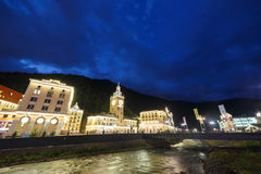 Night at the Rosa Khutor. River Mzemta. Sochi, Russia - July 21, 2015: Venue Winter Olympic Games 2014 stock photography
