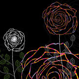 Night rose. Illustration dark night flower rose abstract card background color colorful green color leaves hand drawing Stock Image