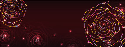 Night rose style line horizontal banner Stock Photo