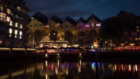 Night Rotterdam with Cube Houses and waterfront cafes stock video footage