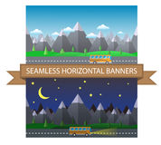 Daily and night rows of Mountains and road. Seamless horizontal background Royalty Free Stock Image