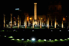 Night-Ruins of Trajan`s Forum in Rome, Italy Royalty Free Stock Photo
