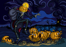 Night of runaway pumpkins Stock Images