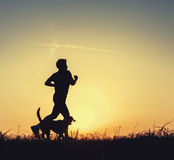 Night runner with dog Stock Image