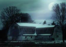 Night rural farm scene. Rural barn scene with moon and black cat Royalty Free Stock Photos