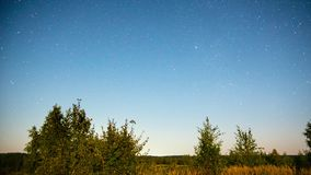 Night rural landscape with stars, time-lapse stock video footage