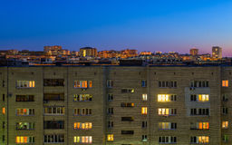 Night russian city living house Stock Photos