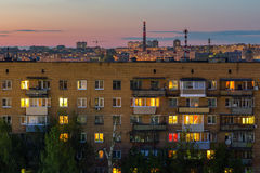 Night russian city living house Royalty Free Stock Image