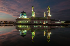 Night at Sabah Mosque . Royalty Free Stock Photo