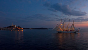 Night Sailing into Rovinj Croatia Royalty Free Stock Images