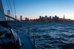Night Sailing and San Francisco Skyline Stock Photos