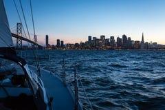 Night Sailing and San Francisco Skyline Stock Photos