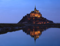 Night at Saint Michel monastery stock photography