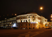 Night Saint Petersburg. Russia.  Nevsky prospect Stock Photos