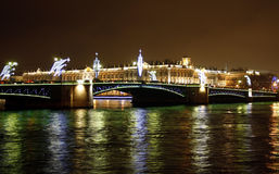 Night Saint Petersburg. Russia.  Palace bridge Stock Image