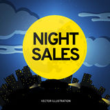 Night of sales of cars. Vectorial illustration. Stock Photos