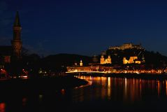 At night - salzburg city in winter Royalty Free Stock Photo