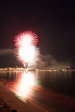 The Night of San Juan with fireworks Royalty Free Stock Photos