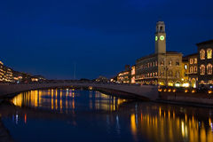 Night of San Ranieri and Luminara in Pisa, view of Ponte di Mezzo Royalty Free Stock Photography