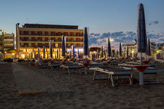 Night on the sandy beach in Italy Stock Image