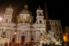 Night Sant Agnese Church in Piazza Navona in Rome, Italy Stock Images