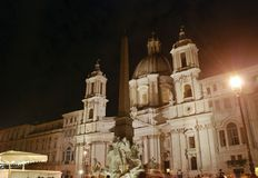 Night Sant Agnese Church in Piazza Navona in Rome, Italy Royalty Free Stock Photo