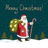 Night Santa Claus. Retro styled Christmas Card with Santa Claus Royalty Free Stock Photography