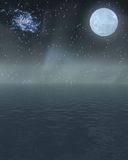 Night Scape. Night sky over large body of water Royalty Free Stock Photos