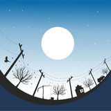 Night Scape. Vector illustration with autumn night sky Royalty Free Stock Photography