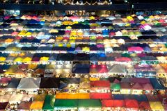 Night scence of aerial view at night market in Bangkok. Stock Image