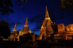 Night scence of Ayutthaya Historic Park Royalty Free Stock Photography