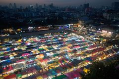 Night scence of Bangkok Panorama Aerial view of Bangkok night ma Stock Photos