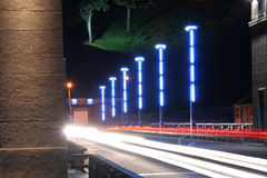 Night scene. Traffic on the bridge Royalty Free Stock Photography