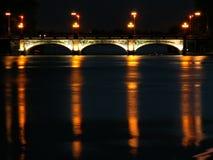 Night scene. Night cityscape with bridge over lake Aster, Hamburg, Germany Royalty Free Stock Photos