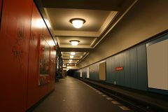 Night scene. Underground station in berlin, germany Stock Image