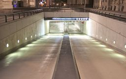 Night scene. Entrance to underground car park, berlin, germany Royalty Free Stock Photography