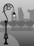 Night scene. Vector picture of night landscape with fog, castle and street lamp Royalty Free Stock Image