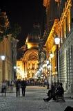Night scene. Night street scene in Bucharest old city, time lapse photo - 18.10.2012 Royalty Free Stock Photography