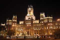 Night scene. Building of telecommunications at night in Madrid stock image