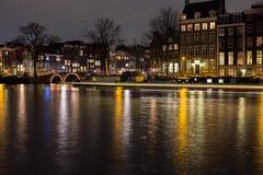Night scene Amsterdam Light Festival Royalty Free Stock Photos