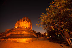Night scene of Ancient Pagoda in Wat Chedi Luang,Thailand. Stock Photos
